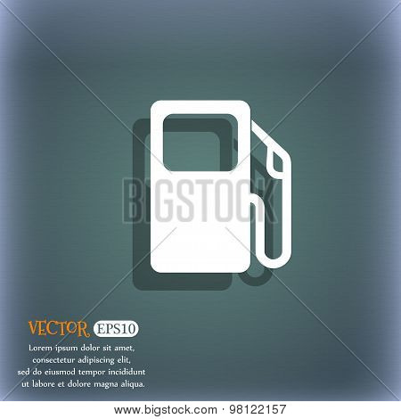 Auto Gas Station Icon Symbol On The Blue-green Abstract Background With Shadow And Space For Your