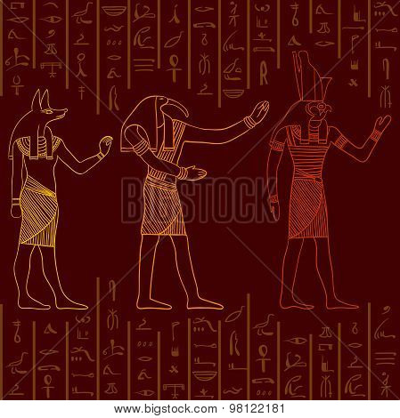 Vintage seamless pattern with egyptian gods on the grunge background with silhouettes of the ancient