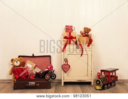Christmas decoration in antique vintage style with toys on wooden background.