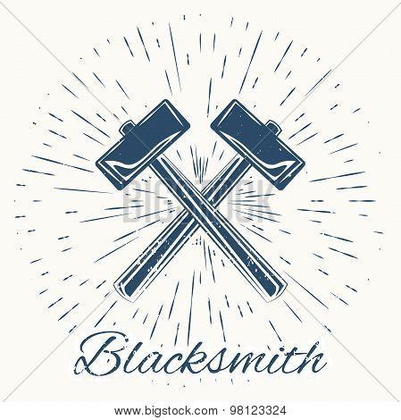 hammer and vintage sun burst frame. Blacksmith emblem
