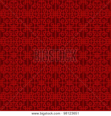 Seamless Chinese window tracery lattice geometry square line background.