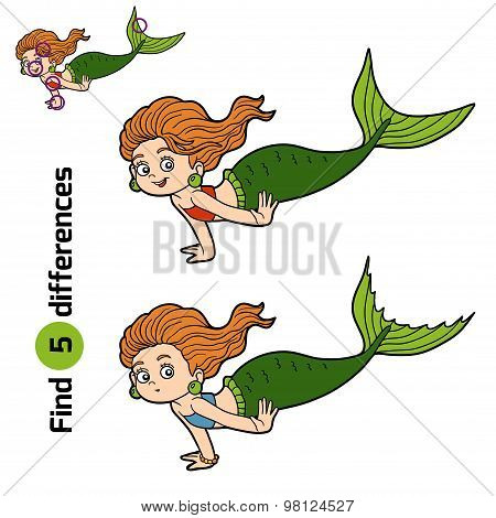 Find Differences Game (little Girl Mermaid)