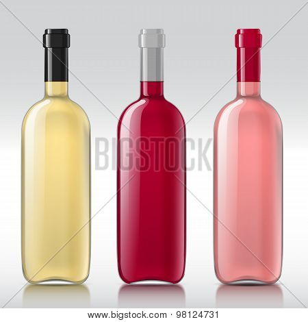 Set of realistic glass bottles