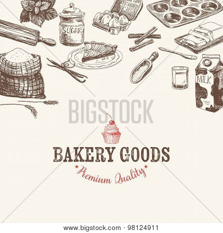 Vector bakery retro background. Vintage Illustration.