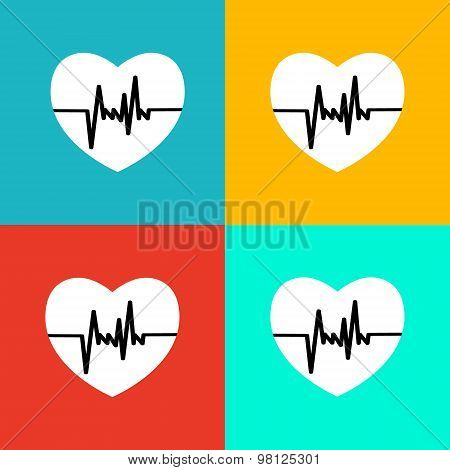 Flat  heart beat icon