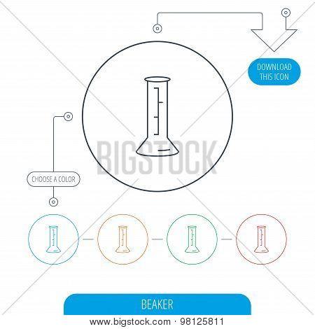 Beaker icon. Laboratory flask sign.