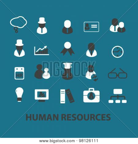 human resources, organization, business, system flat isolated icons, signs, illustrations set, vector for web, application