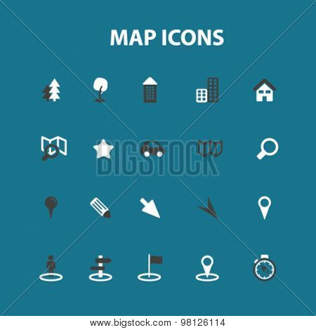 map, route flat isolated icons, signs, illustrations set, vector for web, application