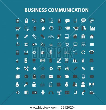 business communication flat isolated icons, signs, illustrations set, vector for web, application