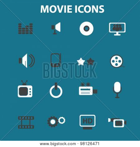 movie, cinema, film, tv flat isolated icons, signs, illustrations set, vector for web, application