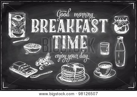 Vector hand drawn breakfast and branch background on chalkboard.