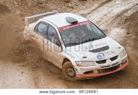 Mitsubishi Lancer Evo VIII rally car.