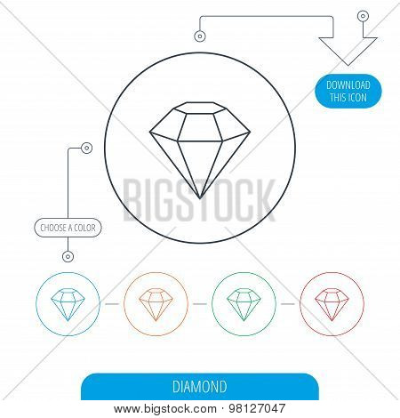 Diamond icon. Brilliant gemstone sign.
