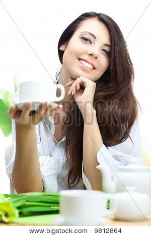 beautiful woman  in cafe