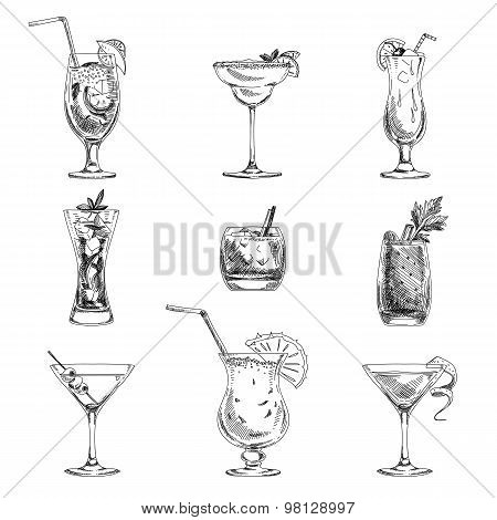 Vector hand drawn set of cocktails and alcohol drinks