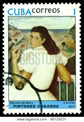 Vintage  Postage Stamp.  Portrait Of  Mary, By  J. Arche.