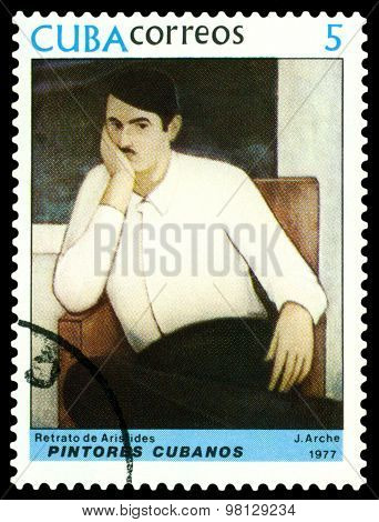 Vintage  Postage Stamp.  Portrait Of Aristides,  By  J. Arche.