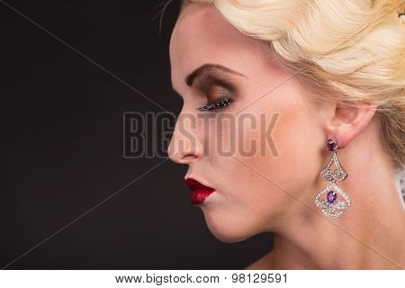 Portrait of a girl in retro style, vintage. Professional, creative visage.