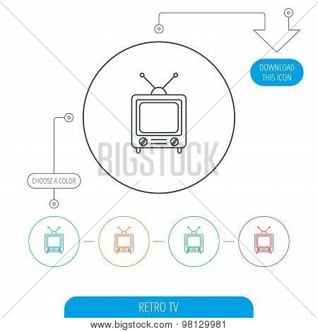 Retro tv icon. Television with antenna sign.