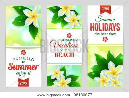 Summer shining typographical banners with tropical Plumeria flowers and blurred bokeh lights.