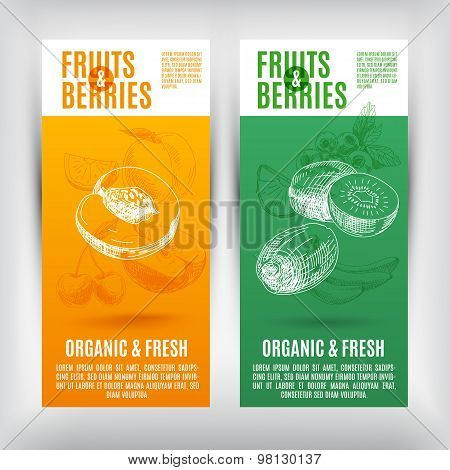 Vector banners set  with hand drawn fruits .Fruits illustration.