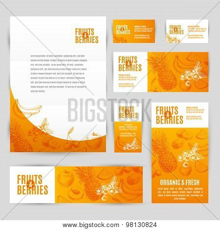 Hand drawn vector corporate template set with fruits and barries