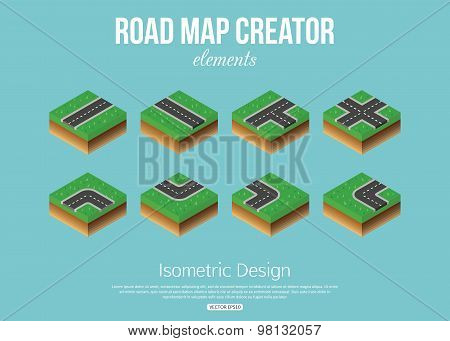 Isometric road creator elements for city building.