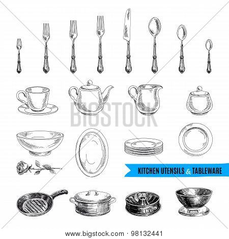 Vector hand drawn illustration with kitchen tools.