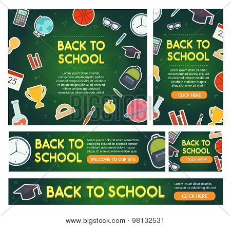 Back to school banner set different sizes