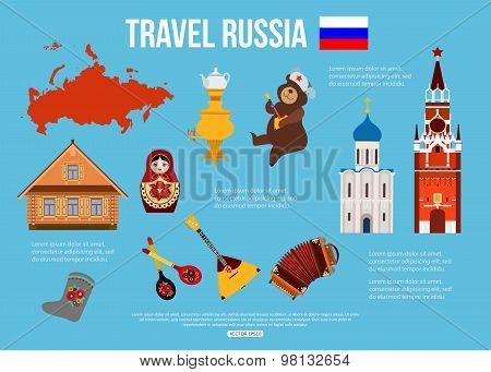 Russia travel background with place for text. Set of colorful flat icons, Russian national symbols f