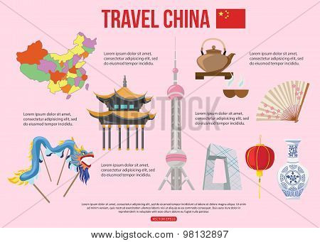 China travel background with place for text. Set of colorful flat icons, Chinese symbols for your de