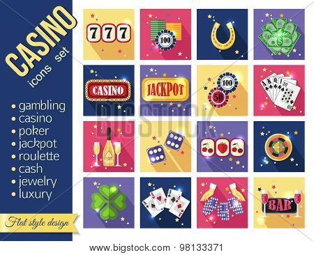 Set of colorful modern gambling icons, casino icons, money icons with long shadow for web and mobile