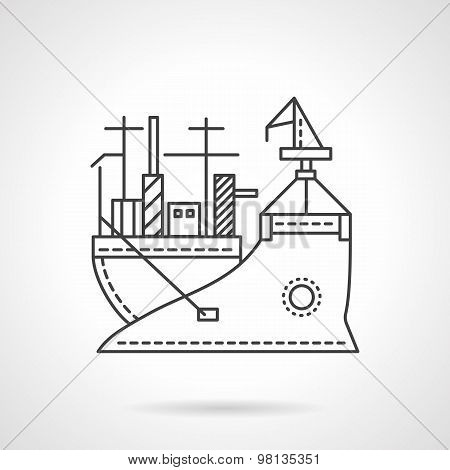 Transport vessel line vector icon