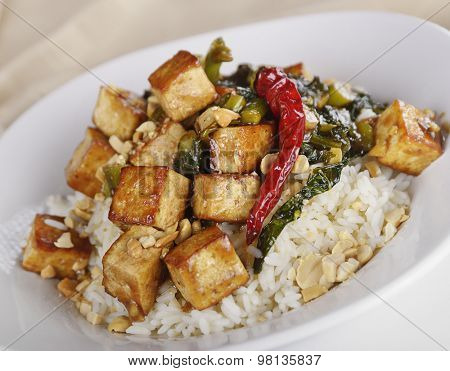 Seared Tofu with Chinese Broccoli and Rice