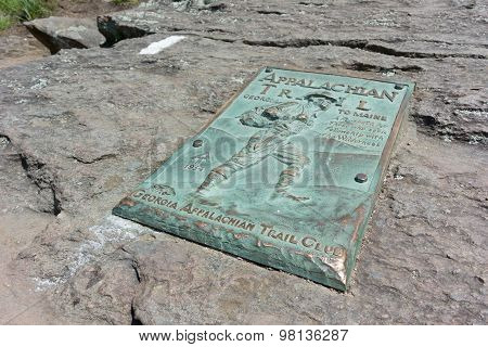 Appalachian Trail Plaque On Springer Mountain