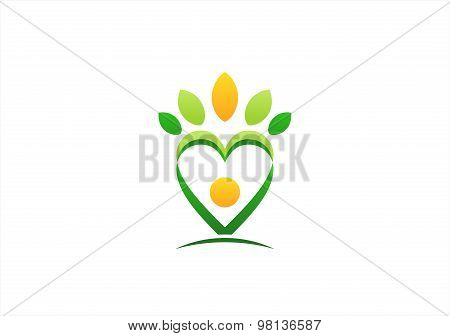 wellness beauty spa logo,nature people health care, tree symbol icon design vector