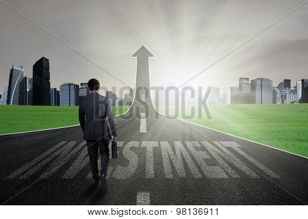 Businessperson Walk On The Road To Sky