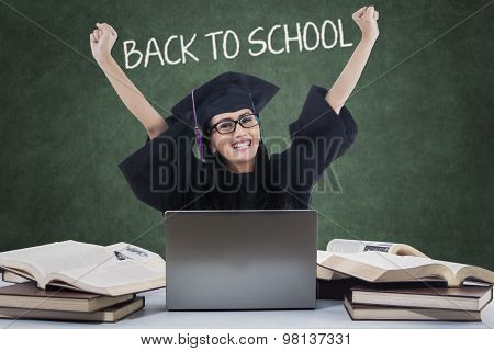 Excited Student With Mortarboard Back To School