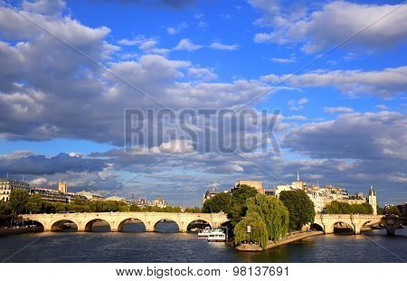 The Pont Neuf, The Oldest Standing Bridge Across The River Seine In Paris, France