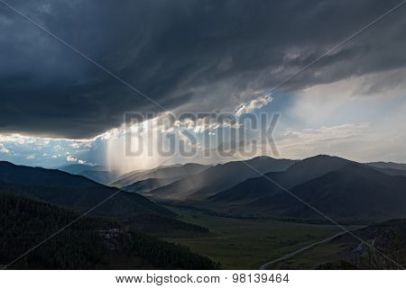 Mountain Valley Sky Clouds Storm