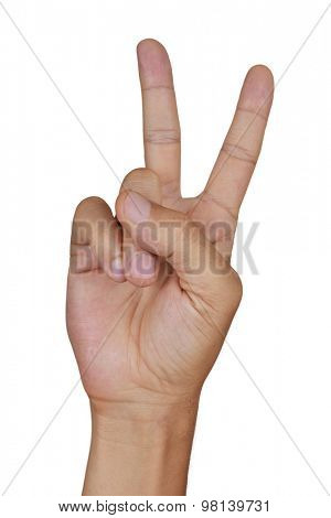 closeup of the hand of a young caucasian man giving a V sign on a white background