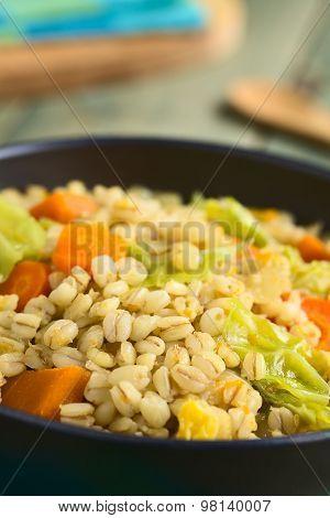 Wheat Grain and Savoy Cabbage Stew