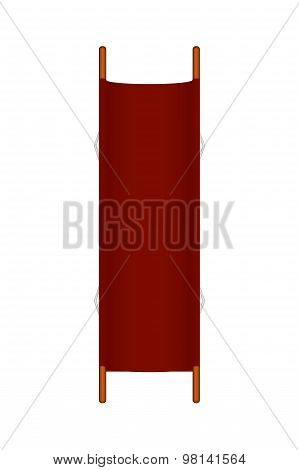 Retro stretcher in red design with wooden handles