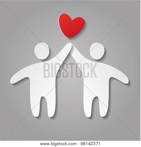 Love. Paper person and heart - design template.