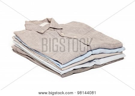 Ironing Housework Ironed Folded Shirts Clean White Background