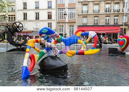 Fountain Near Centre Pompidou With Modern Art In Paris