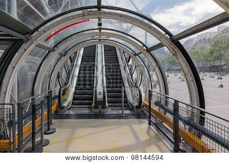 Glass Tube Corridor With Escalator At Pompidou Centre In Paris