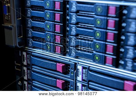 Internet server in datacenter close-up view