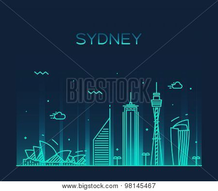 Sydney skyline trendy vector illustration linear