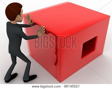 3D Man Pusing Big Red Cube Concept